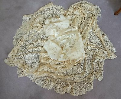 Antique Solstiss Silk Chantilly Net Lace Veil & Flounce Ruffles Roses As Is Old