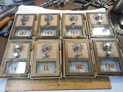 Antique GRECIAN 1966 CORBIN Post Office Box Doors With Combination QTY of 8