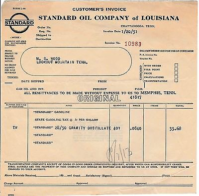 1930s Standard Oil Company of Louisiana Receipt Chattanooga, TN Gas Station