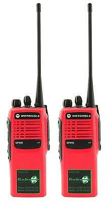 MOTOROLA GP340 UHF 4 WATT TWO WAY WALKIE-TALKIE RADIOS x 2 HI-VIZ RED