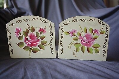 Vintage Bookends Tole Tin Hand painted CABBAGE ROSE Folk Art Metal