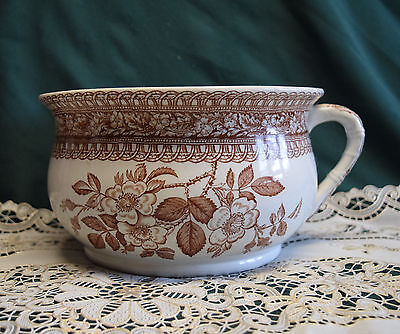 Antique Ironstone Chamber Pot Brown Transfer Wild Roses Lattice