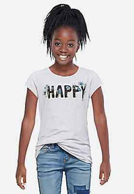 Justice Girl's HAPPY Flower Tee in Pearl Heather Size 12 NWT