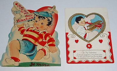 VINTAGE BOYS WITH TOY AIRPLANES VALENTINE'S DAY CARDS 1930s  - LOT OF TWO