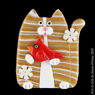 Gold Tabby Kitty Cat & Red Cardinal with Snowflakes Winter Holiday Pin - SWris
