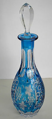 Ajka Marsala Azure Azurro Lt Blue Cased Cut To Clear Crystal Decanter