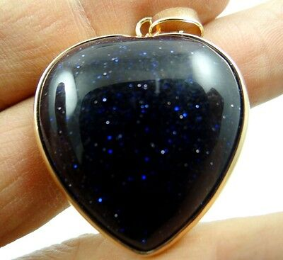 33*31MM Natural Heart Blue sand stone  agate pendant Gemstone Loose Beads FD11