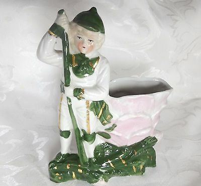 Antique Numbered Staffordshire Fairing Vase Boy and Flower