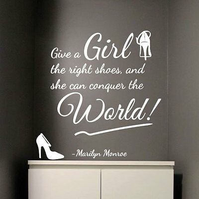 MARILYN MONROE Girl Right Shoes Conquer World Art Quote Wall Stickers Decal 322