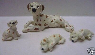 4pc Set MEG 1994 Brown Spotted Dalmatian Dog Mom 3 Puppies/Puppy in my Pocket