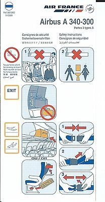 Safety Card - Air France - A340 300 - Portes 3 Types A - 2008 (S2484)