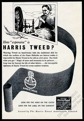 1947 Harris Tweed woolen fabric spinning wheel woman art vintage print ad