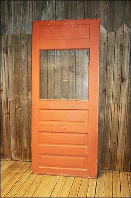 Vintage WOOD DOOR w window red wooden front glass architectural salvage 4 panel
