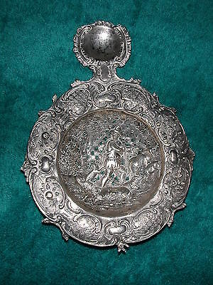 Antique Dutch Tea Strainer Herder Farmer Dog Lamb Sheep Tree Repousse Silver