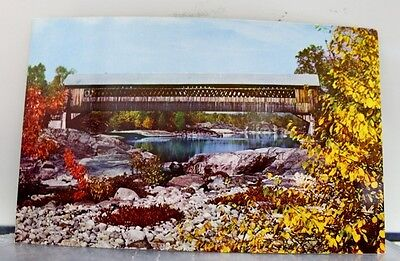 New Hampshire NH Woodstock Covered Bridge Pemigewasset River Postcard Old View
