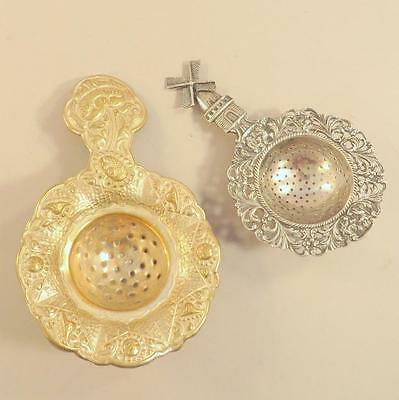 Lot 2 Dutch Silver Plated Tea Strainers