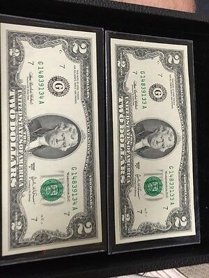 2 $2  2003A Two Federal Reserve Notes Consecutive Crisp Uncirculated Chicago