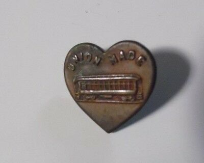 Vintage Brass Carhartt Heart Shaped Button with Streetcar, Union Made