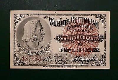 Lovely Columbus ticket from the Columbian Exposition, 1893 GREAT condition
