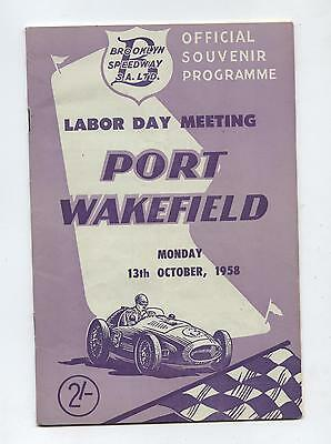 1958 Port Wakefield Labor Day Programme Racing Touring Sports Motorcycle Car