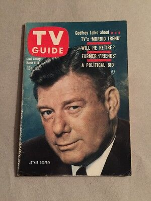 1958 TV Guide Arthur Godfrey Alfred Hitchcock Cleveland Ed. Free Shipping