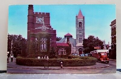 New Hampshire NH Nashua Public Library Congregational Church Postcard Old View