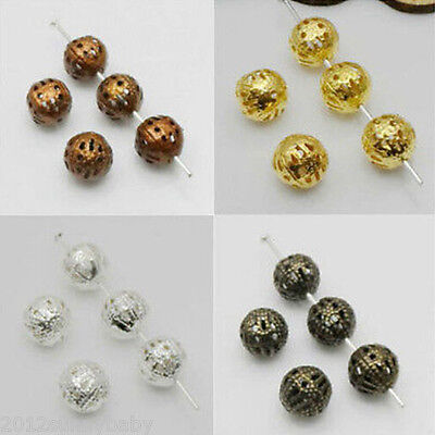 DIY Metal Charm Hollow Flower Ball Loose Spacer Beads Jewelry Findings Making