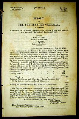 1850 POST OFFICE DEPT. Mail Failures Between New York & New Orleans in 1849