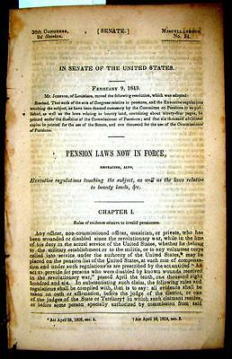 1849 PENSION LAWS in Force - Navy Pensions, Executive Regulations, Bounty Lands