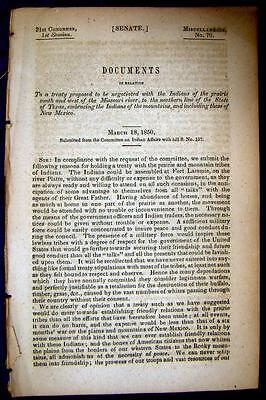 1850 INDIANS Treaty Proposal for Indians West of Missouri River to New Mexico