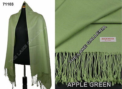 New Classic Apple Green Real 100% Pure Pashmina Cashmere Wool Shawl Wrap Scarf