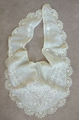 Antique Shawl Or Collar Embroidered Dots Flowers Irish Lace Crochet Openwork