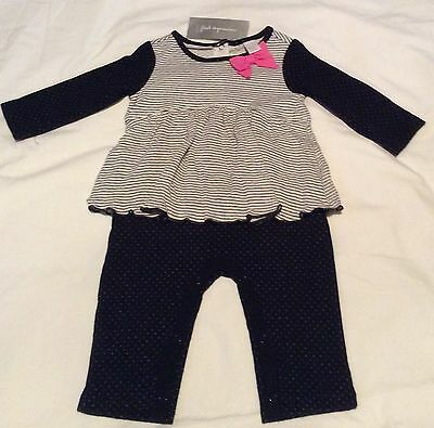 NWT Infant Baby Girls Pants Shirt One Piece Romper 3-6 Months Black White Pink