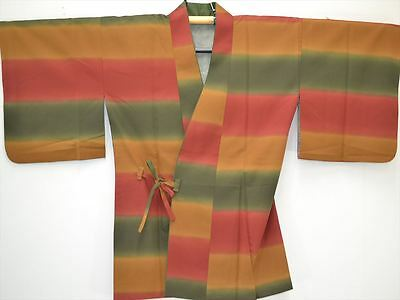VINTAGE WASHABLE HAORI JACKET:Lovely Colourful Boarder@J75a
