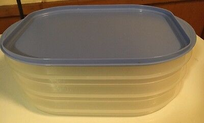 TUPPERWARE ~ FRIDGE STACKABLES deli meat & cheese storage container BLUE (used)