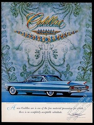 1961 Cadillac Sixty-Two Coupe blue car photo vintage print ad