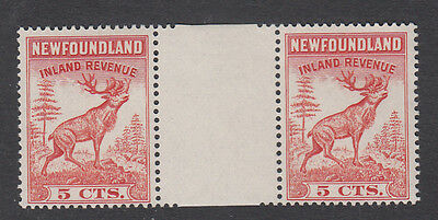 Newfoundland - 5 Ct Mint/nh Revenue Gutter Pair - See Scan!!