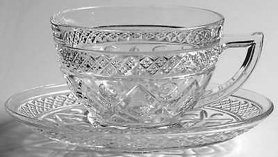 Imperial Glass Ohio CAPE COD CLEAR (#1602 & #160) Cup & Saucer 236447