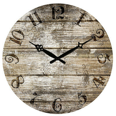 "15"" Large Vintage Rustic Retro Antique Shabby Chic Wall Clock Home Kitchen Decor"