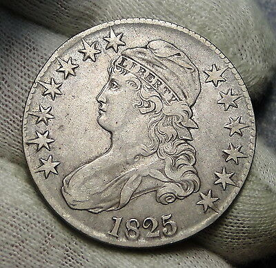 1825 Capped Bust Half Dollar 50 Cents - Double Image, Nice Coin (4312)