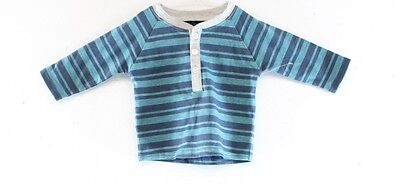 Famous Brand NEW Blue Baby Boy's Size 0-3 Months Striped Long Sleeve Shirt- DEAL