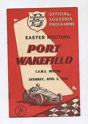 1958 Port Wakefield Easter Meeting Programme Racing Touring Sports Car