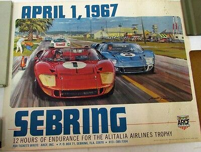 1967 12 Hours Of Sebring Race Event Poster Original Ford GT40 ARCF Road Racing