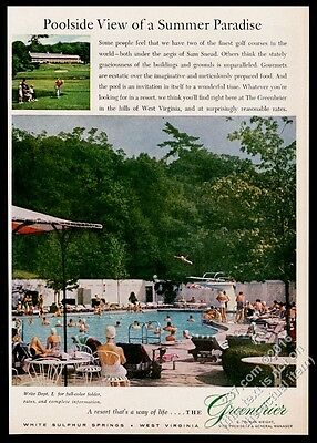 1960 The Greenbrier resort hotel swimming pool photo vintage print ad