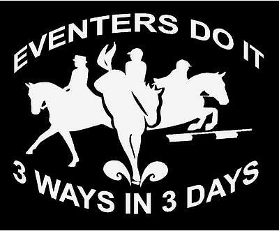 3-Day Eventing Horse Jumping English Decal Sticker Vinyl CUSTOM saying