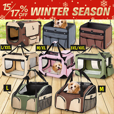 Foldable Pet Soft Crate Cage Dog Cat Carrier Travel Carry Bag Kennel Portable