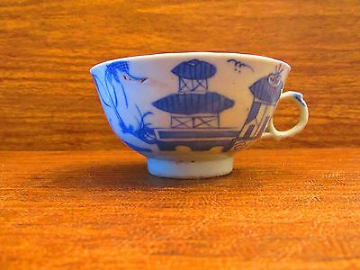 18th 19th Century Chinese Export Antique Canton Blue & White Tea Cup  Handle