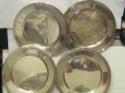"""4 Vintage Silver plate Small Charger 6"""" Plate Pin Tray FB Rogers"""