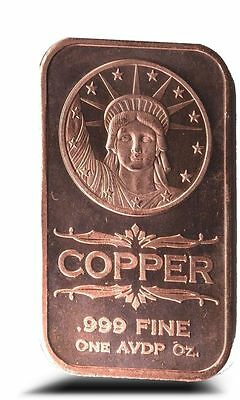 1 AVDP oz Statue of Liberty Copper Ingot .999 uncirculated