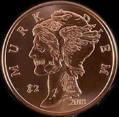 1 Avdp oz Zombucks™ Murk Diem copper round. Uncirculated coin .999